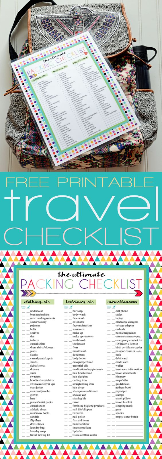 Free Printable Ultimate Packing Checklist | Perfect for travel packing | Three designs | Instant Downloads                                                                                                                                                                                 Más