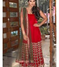 Buy Red embroidered georgette semi stitched salwar with dupatta bollywood-salwar-kameez-online online