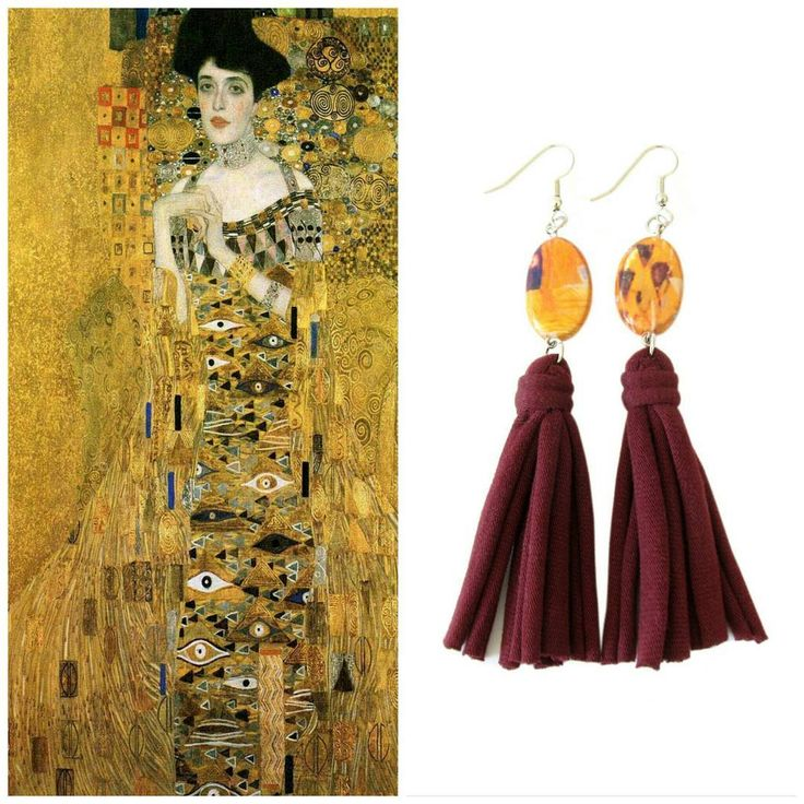 Tassel earrings with wooden beads inspired Klimt's portrait of Adele Bloch-Bauer I ~ Perfect for who loves art 💛......#recycleyourtshirt #earrings #tasselearrings #klimt #tassels #tassel #tasseljewelry #brand #etsy