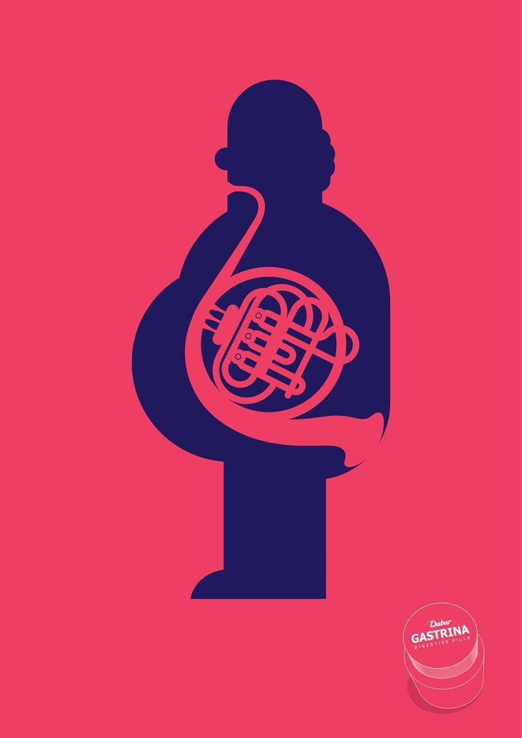 GASTRINA digestives pills - Creative Advertising - Poster, Human figure, Silhouette, Musical Instrument, French Horn, Gass, Fart, Clever, Minimal, Pink, Blue