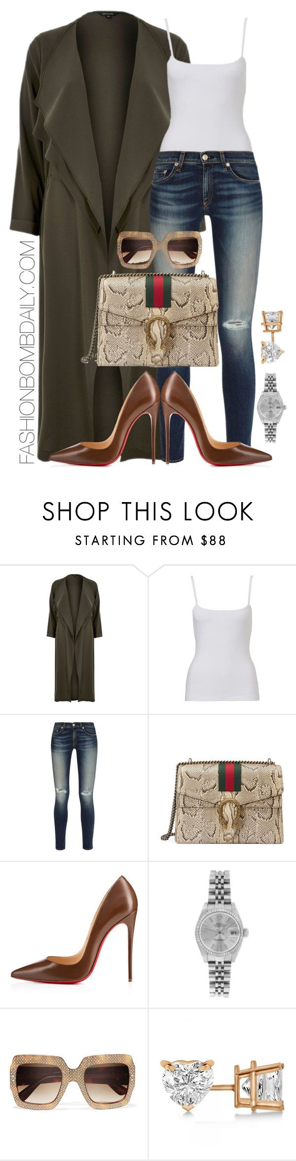 """""""Untitled #1934"""" by dnicoleg ❤ liked on Polyvore featuring River Island, rag & bone, Gucci, Christian Louboutin, Rolex and Allurez"""