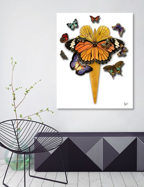 Discover «BUTTERFLY ICE CREAM», Numbered Edition Canvas Print by Gloria  Sánchez - From 45€ - Curioos
