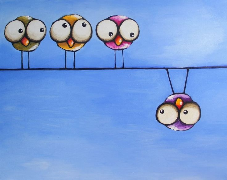 Original acrylic canvas painting whimsical bird four birds - There is always one #IllustrationArt