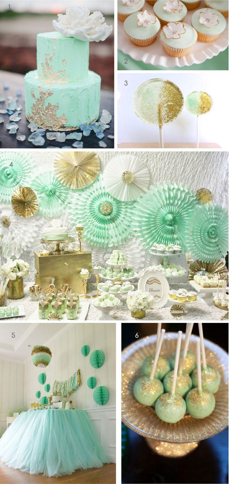 χρωματικοι συνδυασμοι για παρτι: πράσινο της μεντας και χρυσο - Mint and gold party ideas