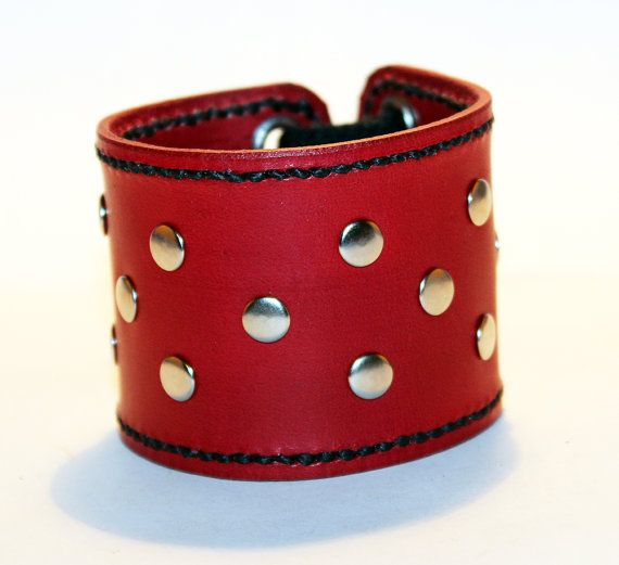 Pulsera brazalete de cuero rojo Bonito regalo para las