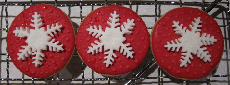 Iced biscuits with fondant icing cut-out - was easy to do but looked effective