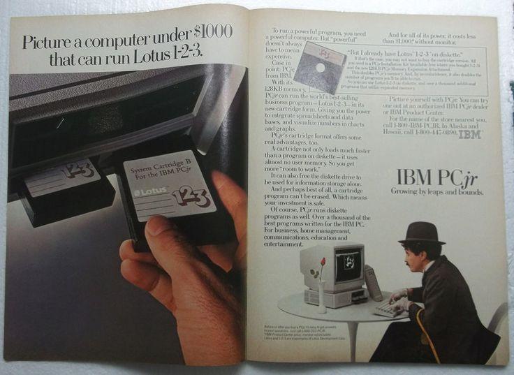 """1985 IBM PC jr. Lotus 1-2-3 Black And White Vintage Print Ad 10 3/4"""" x 15 1/2"""""""