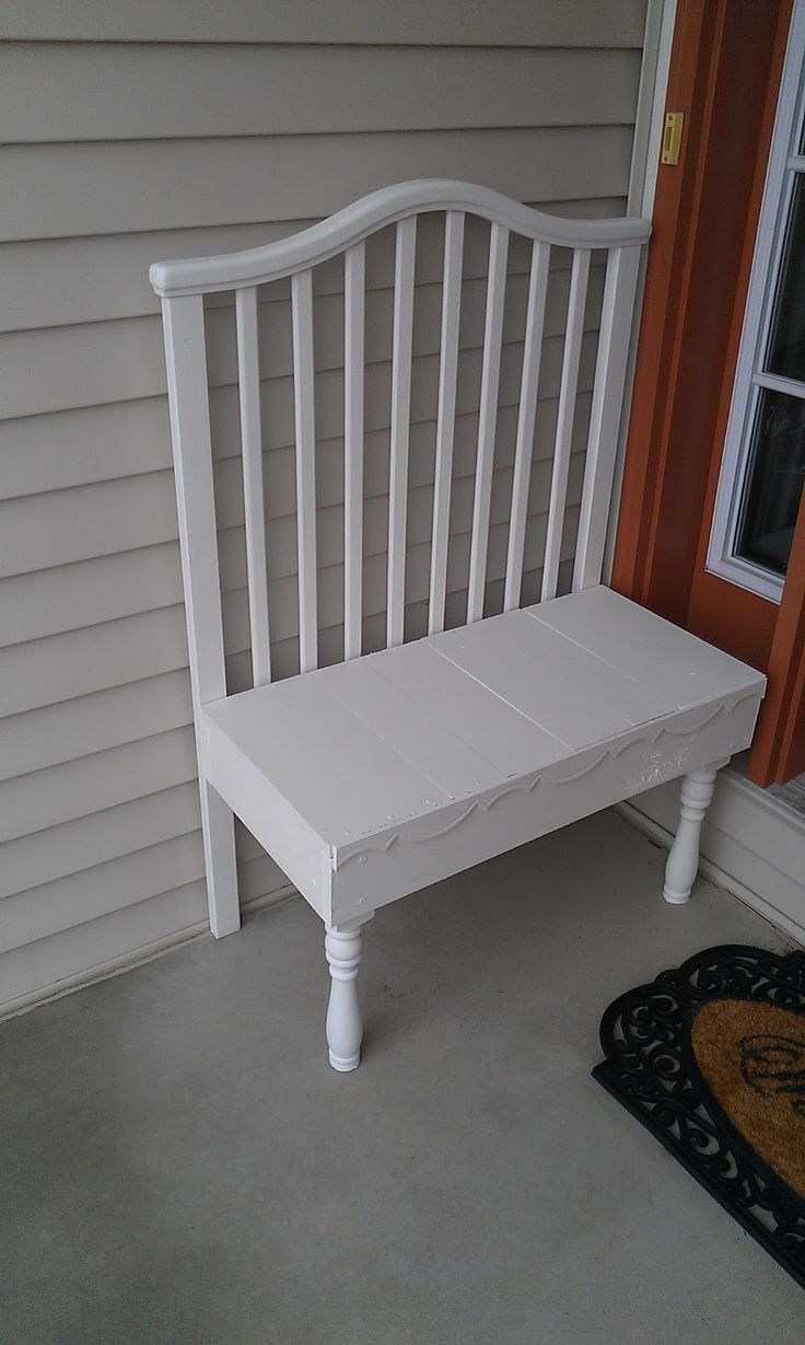 Crib alternatives for older babies - Thrifty Treasures Small Crib Bench From A Wobbly Old Baby Crib To A Front Porch