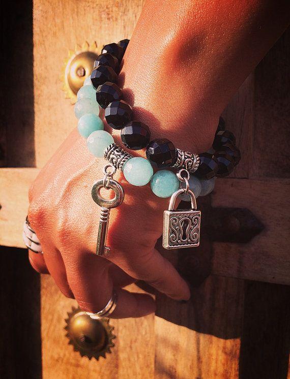 Set of elastic bracelets Agate  Amazon stone the от Monamibijoux
