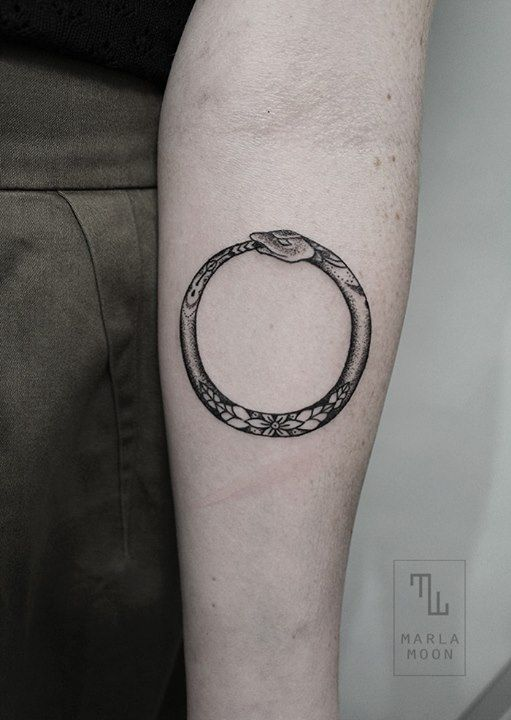 Ouroboros Tattoo | a circular symbol depicting a snake, or less commonly a dragon, swallowing its tail, as an emblem of wholeness or infinity.