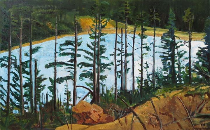 'Lake Through The Trees' | Signed with the Artist's Monogram  | Oil on Board |  51 x 76cm