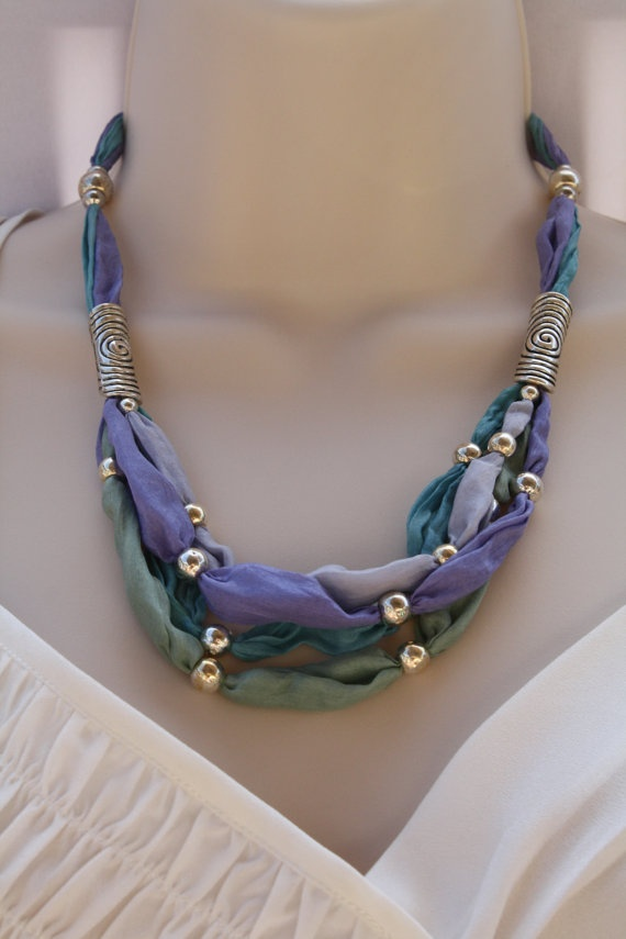 Hand Dyed Silk Necklace accented with European by LunaValentina, $45.50