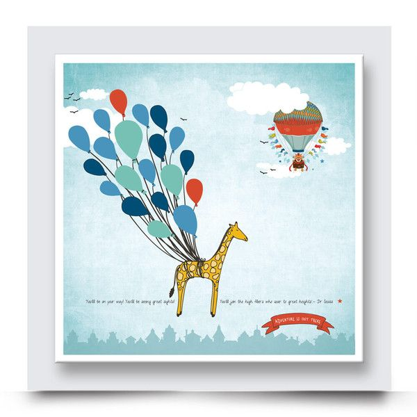 EAGER GIRAFFE wall art, adds a bold, colourful & happy presence to a nursery, boys bedroom or playroom. Paired with one of the hot air ballon artworks, this combination will add life to the walls in your kids room. You have the choice to have it printed on stretched canvas or box framed and you can personalise it with your child's name on. Order your art print from http://www.madicleo.com/collections/wall-art-for-boys-rooms