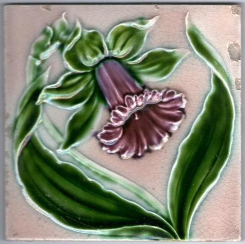 Art Nouveau Majolica Tile c. 1900 English