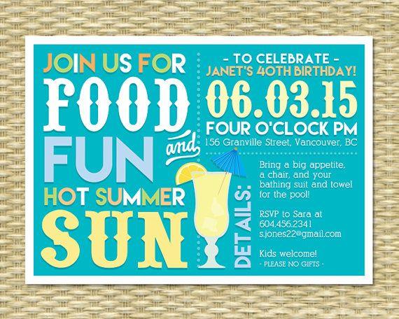 Adult Summer Birthday Invitation Summer Birthday BBQ Pool Party Invitation Margarita Party Milestone Birthday, ANY EVENT, Any Colors