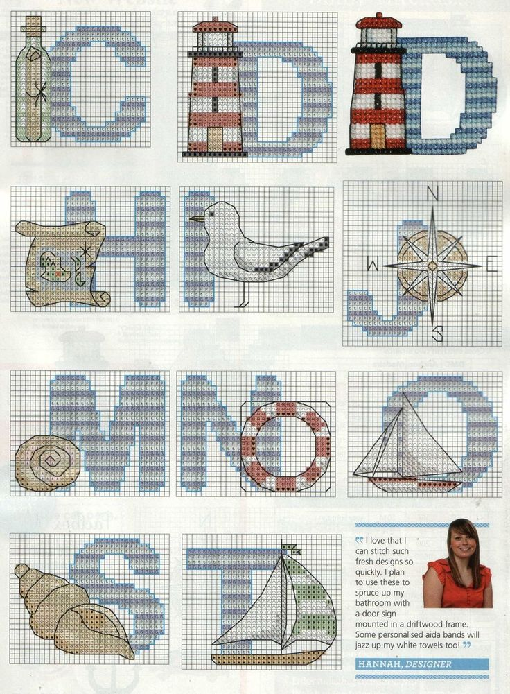 Nautical Cross Stitch alphabet