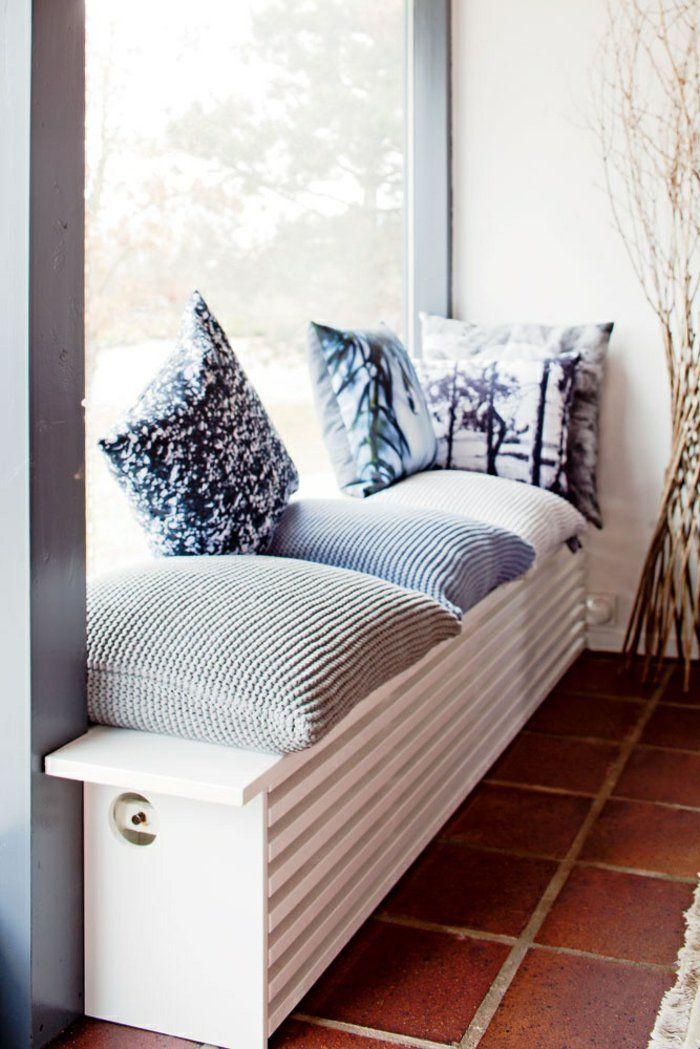 heizkörperverkleidung sitzbank fensterbank weiche kissen bodenfliesen terrakotta