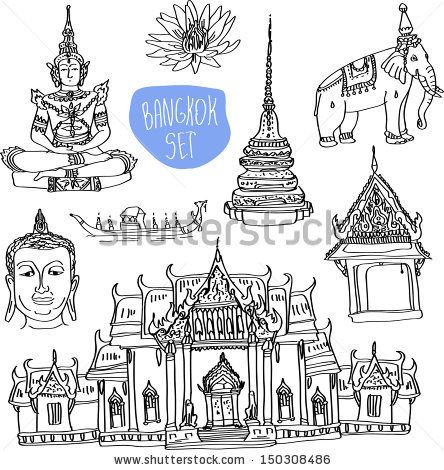 Illustration of vector set of Bangkok (Thailand) with temple, buddha, elephant and lotus isolated on white background - stock vector