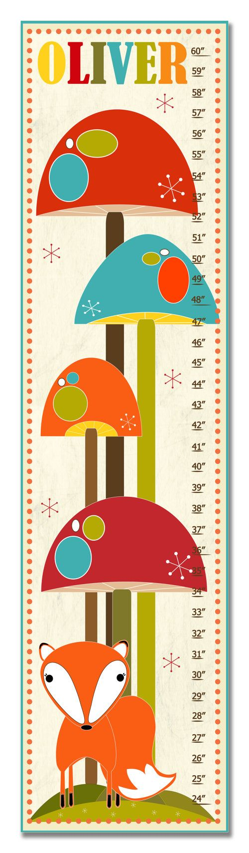 40 best growth charts images on pinterest for kids growth charts kids growth chart ruler measure childrens wall art fox in mushroom forest may be personalized also available in metric geenschuldenfo Images