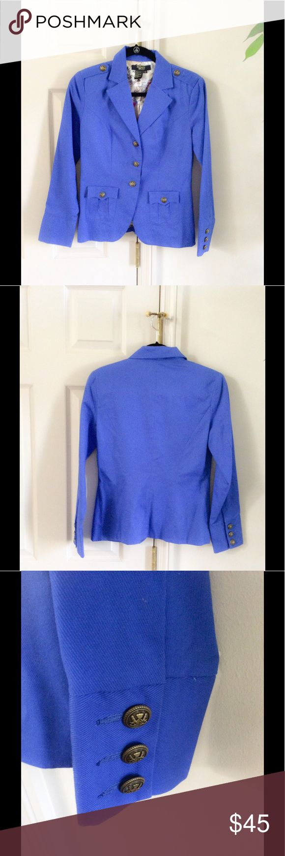 Twiggy London Blazer EUC military style royal blue blazer with button cuff detail. Twiggy Jackets & Coats Blazers
