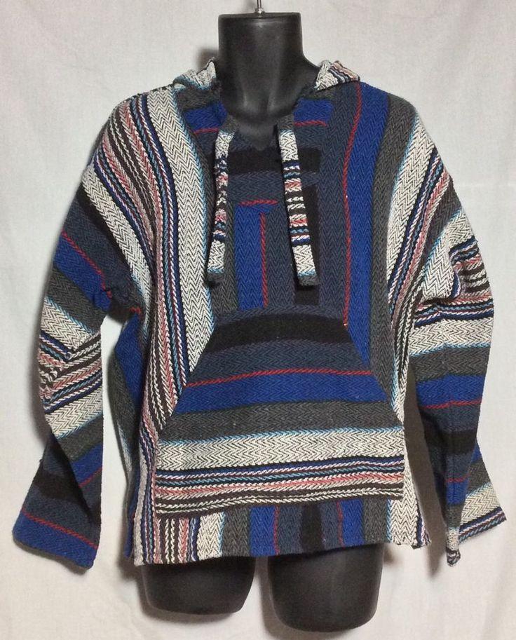 Men's Earth Ragz Mexican Rug Hoodie Medium Reggae Shirt Hippie Beach Sweater #EarthRagz #Hoodie