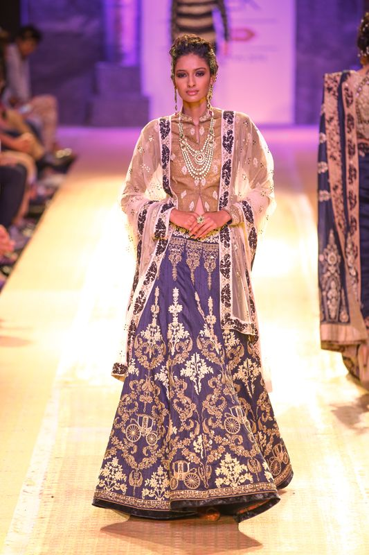 Elegant Blue Lengha by Anju Modi at Lakme Fashion Week 2014