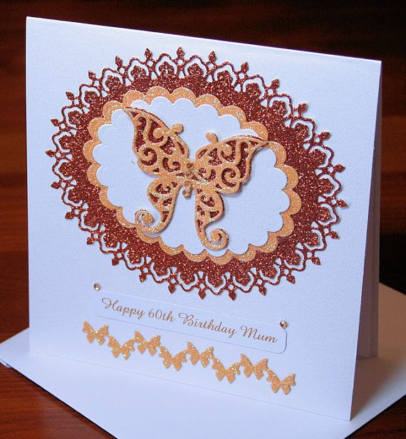 Happy 60th Birthday Mum Butterfly 300gsm Pearlescent Card with
