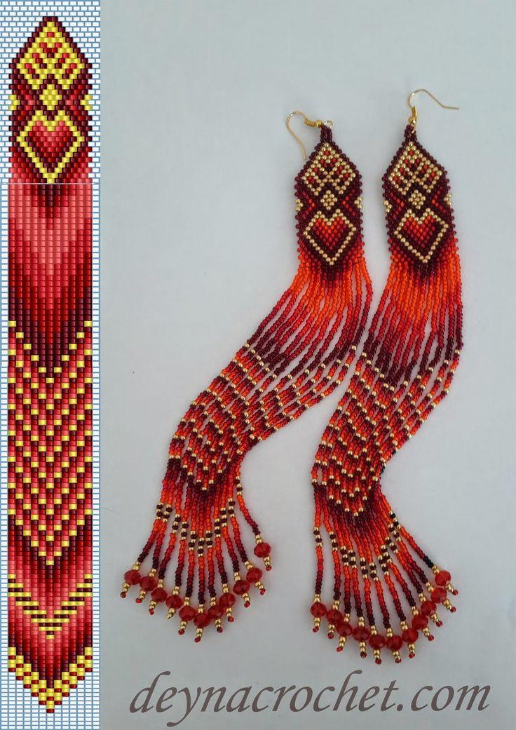 DEYNACROCHET: Бисерные серьги Red Silk. Схема