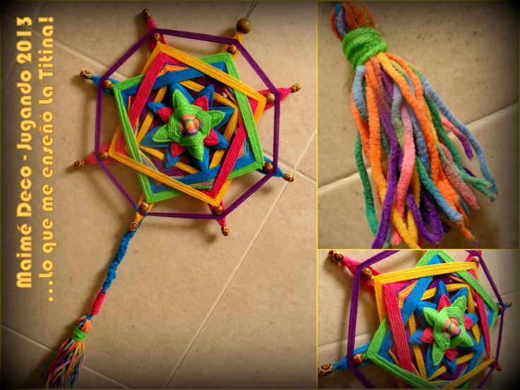 """...lo que me enseñó Ana de """"El Mercadito de La Titina""""; Mandala realizado con Palitos de Brochettes, Lanas, Microfibra, Hilo y Cuentas de Madera!"""
