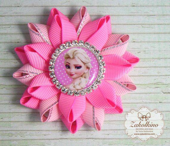 Set of 2 Frozen Elsa hair bow Pink Blue hair bow by ZakolkinoCom