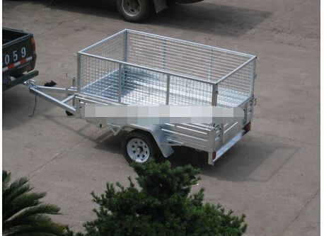 7x4 hot dipped galvanized box cage trailer(Five pieces of plate spring winch roller spare tire lights and plug wire) remorque