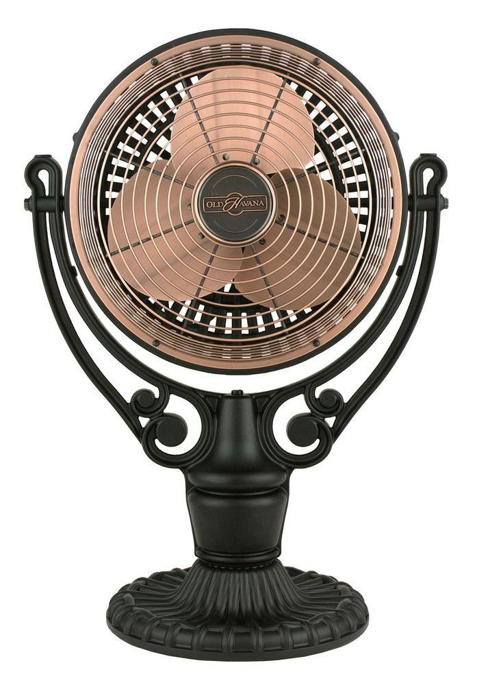 Old Havana Antique Copper Fan With Black Floor Desk Base Fanimation Table Fans Table Fans Ceiling Fan Motor Fanimation Fanimation Ceiling Fan