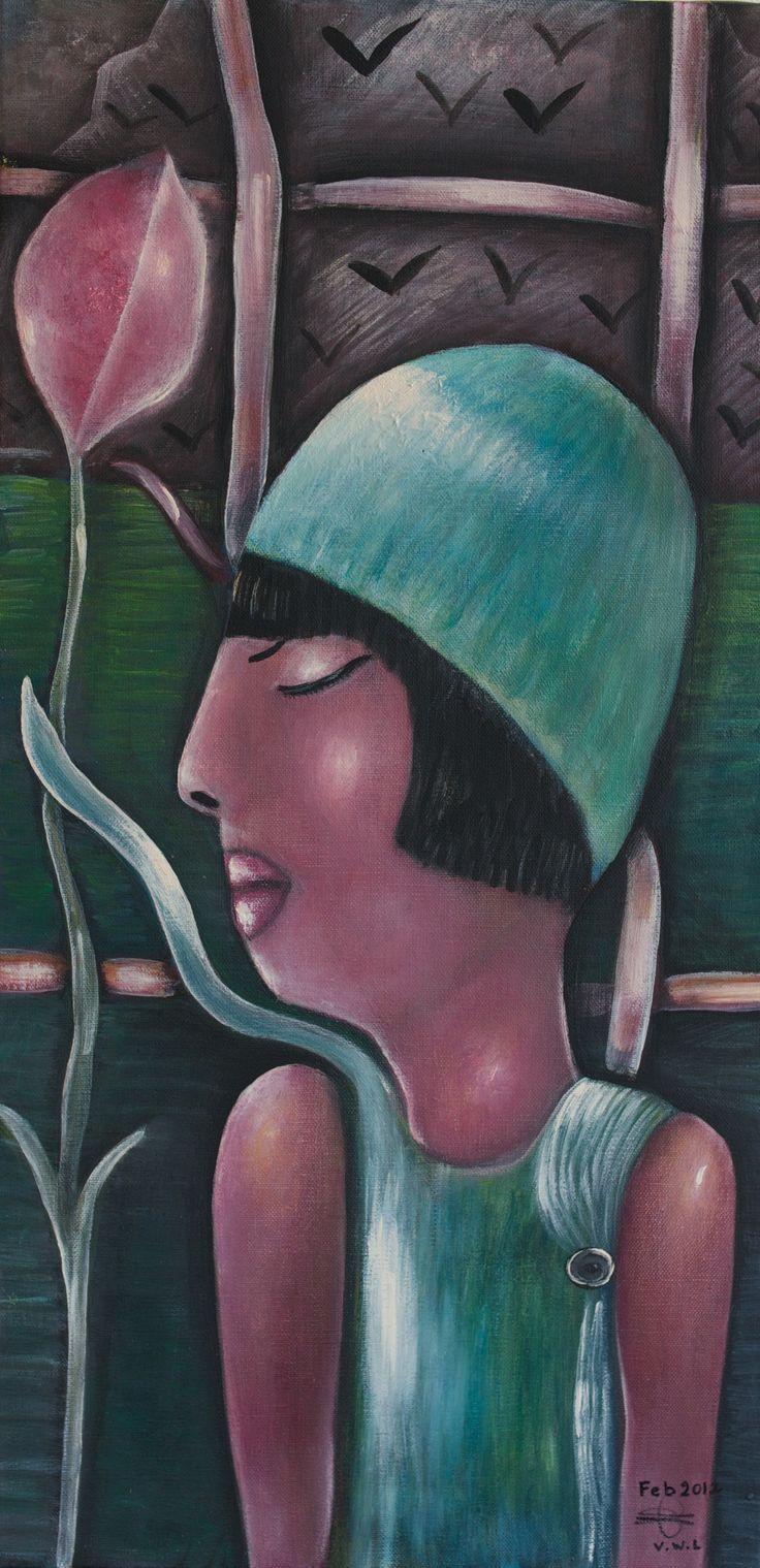 """VWL/Twen/010 (Paris 2011  """"Women nature"""")- Acrylic on canvas/ Acrylique sur toile/ Acrylico sobre tela  (30X60cm)"""