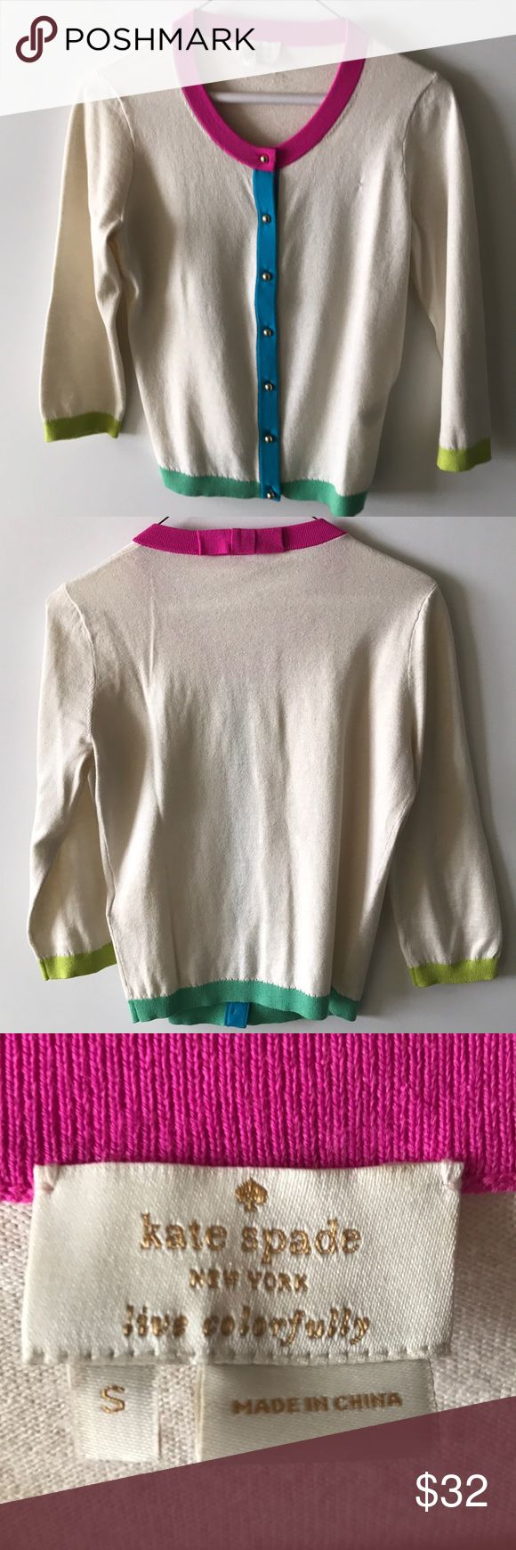 Kate Spade Cardigan Kate Spade cardigan, minor pilling and a small hole was repaired (see photos), price reflects condition, size Small kate spade Sweaters Cardigans