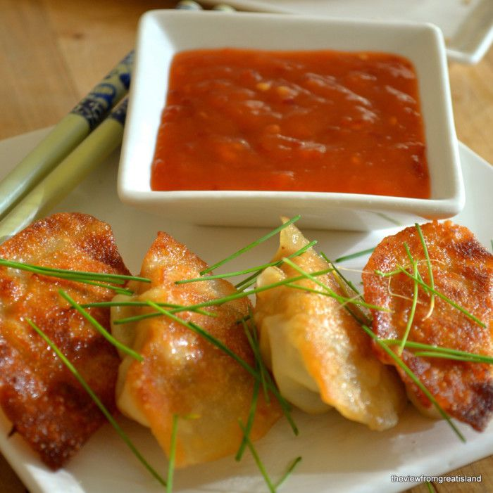 Chicken Gyoza (Pot Stickers) Recipe Appetizers, Main Dishes with gyoza wrappers, ground chicken, napa cabbage, scallions, garlic, hot pepper, fresh ginger, soy sauce, sesame oil