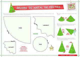 PAP Árvore de Natal Craft - Feltro (com molde) * BoniFrati