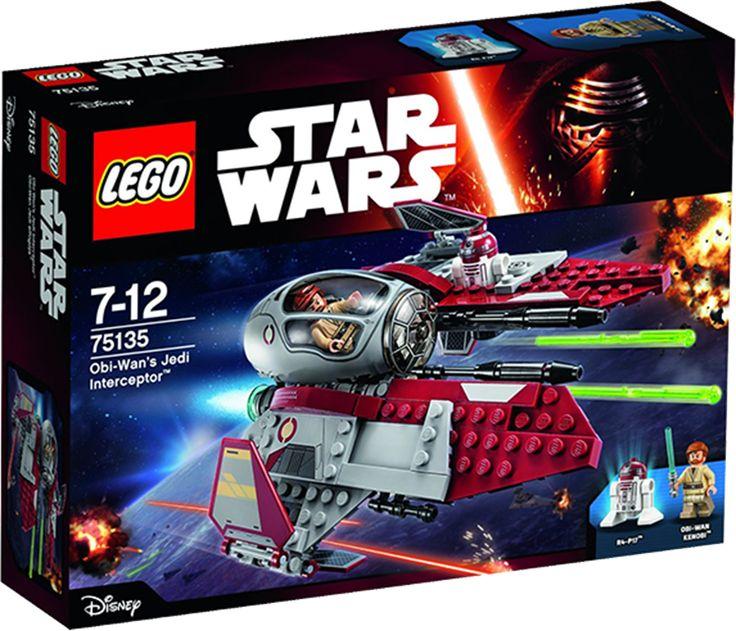 LEGO STAR WARS 75135 Obi-Wan's Jedi Interceptor Den modige Obi-Wan Kenobi er klar til sin næste farlige mission i den strømlinede Jedi Interceptor. Hop ind i cockpittet, og sænk astromech-droiden på plads. Lad derefter skyderne med fjederudløser, fold vingerne ud, og stig til vejrs.