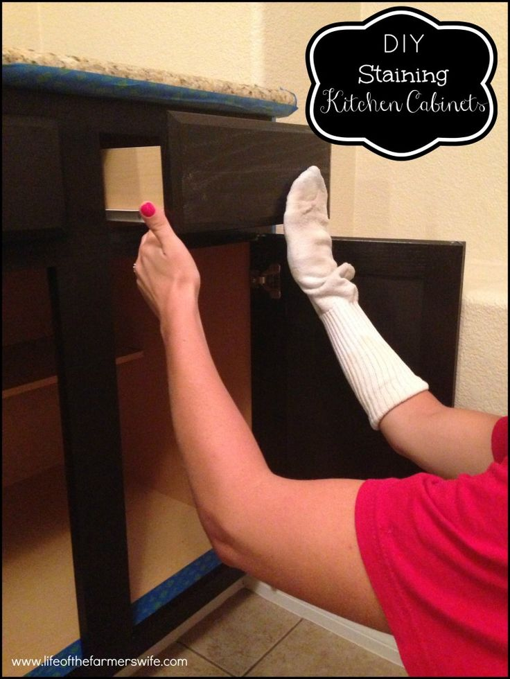 DIY Staining Kitchen Cabinets Dark Espresso Cabinet Staining