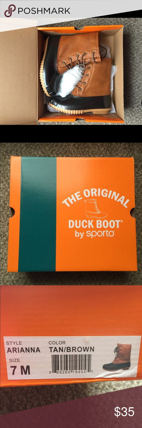 The Original Duck Boot NWT. The tag is not attached but I still have it. Never worn outside as you can see from the photo of the bottom of the boots. Nothing wrong with them, just too big for me. Can be sent with original box and tags if you'd like. Size 7M Sporto Shoes Winter & Rain Boots