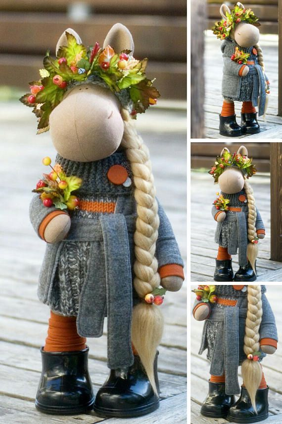Horse Doll Fabric Doll Textile Doll Collectable Handmade Doll Cloth Doll Poupée Muñecas Tilda Doll Rag Doll Gray Doll Soft Doll by Alena __________________________________________________________________________________________   This is handmade soft doll created by Master Alena R (Moscow, Russia). All dolls stated on the photo are mady by artist Alena. You can find them in our shop searching by artist name. Here are all dolls of artist Alena: https://www.etsy.com/shop/An...