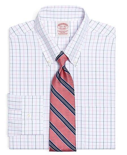 Supima® Cotton Non-Iron Traditional Fit Alternating Tattersall Dress Shirt Pink