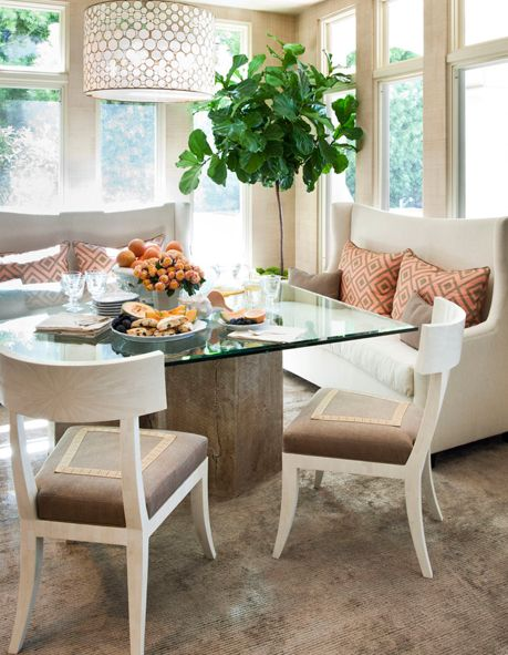 chandy, settees, david hicks pillows:  Boards, Breakfast Rooms, Dining Rooms, Lights Fixtures, Breakfast Nooks, Chairs, Dining Nooks, Fiddle Leaf Fig, Dining Tables