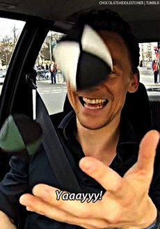 (gifset) Because Thomas William Hiddleston is in fact a five-year-old stuck in a 32-year-old body.