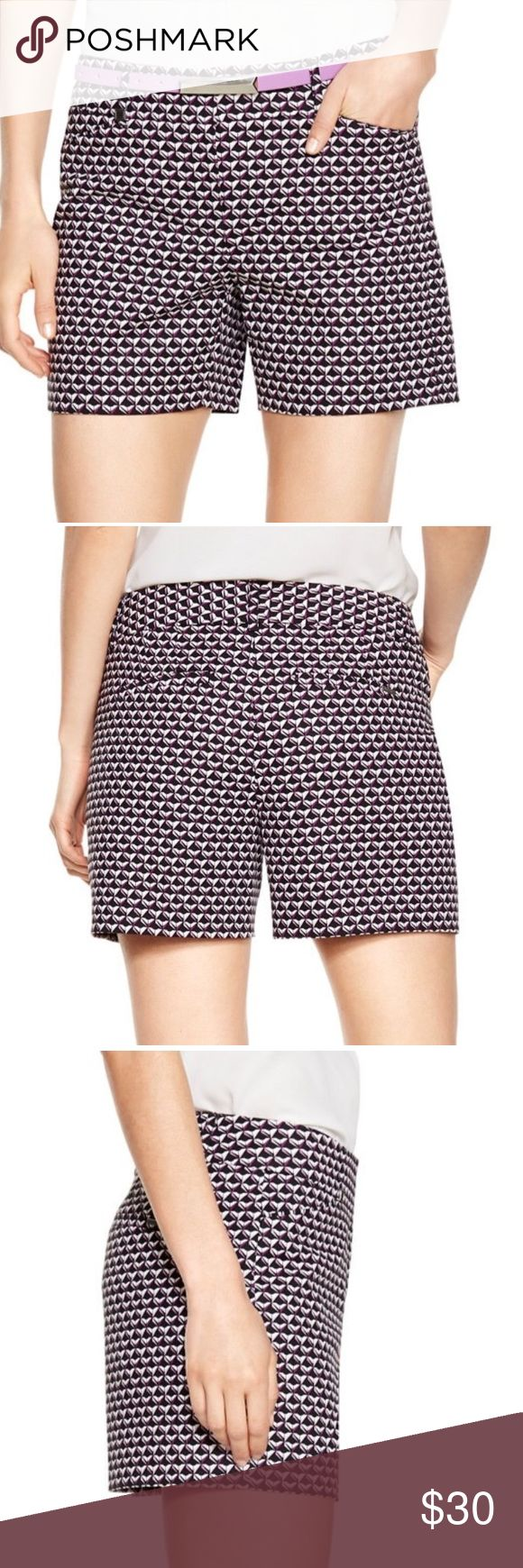 "WHBM Geometric Printed Shorts NWOT! White House Black Market beautifully crafted sleek stretch cotton, clean cut shorts in a black, white and purple geometric print with the perfect in-between length. Sits below the waist. Hidden double hook and bar closure with interior button and zip fly. Slant front pockets and back welt pockets. 98% cotton, 2% Elastane. Brand new! Only tried it too big! No belt included. Can't return/ tag removed.  Approximately 5"" inseam. White House Black Market Shorts"