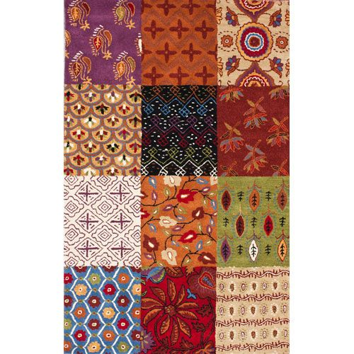 Handmade Rug With An Eastern Patchwork Motif