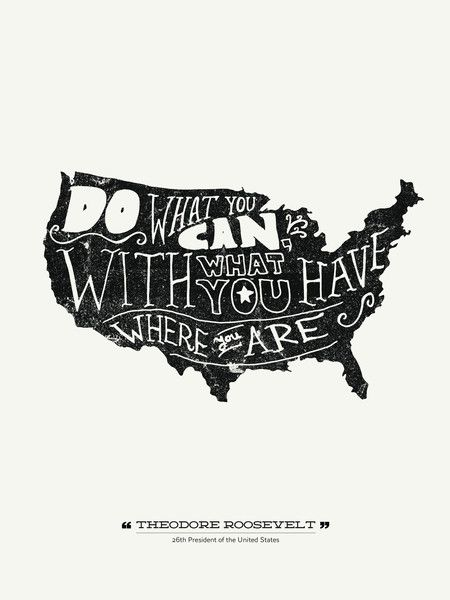 Do what you can where you are with what you have - Theodore Roosevelt