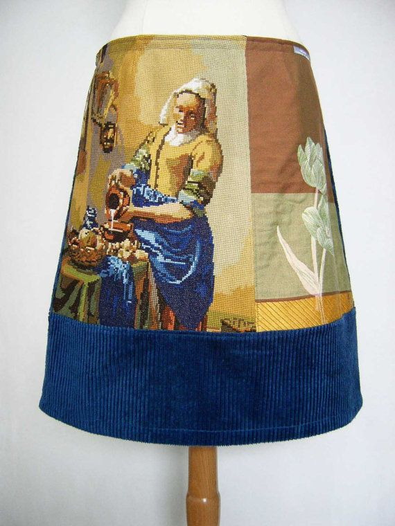 Vermeers Melkmeisje borduurwerk, A-lijn rok, upcycled, gevoerd, tulp gobelin, blauw geel sienna, maat Medium