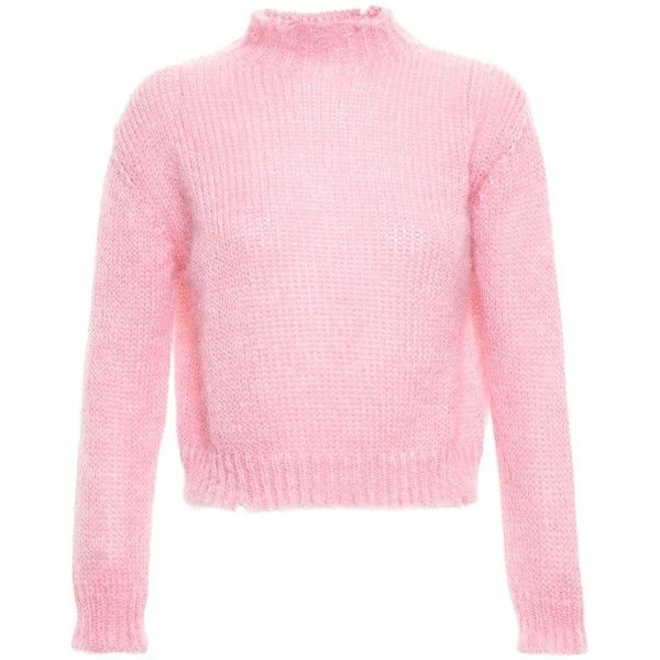 Filles A Papa Chunky Knit Sweater ($326) ❤ liked on Polyvore featuring tops, sweaters, pink, shirts, pink oversized sweater, plaid jumper, grunge sweaters, tartan shirt and oversized chunky knit sweater