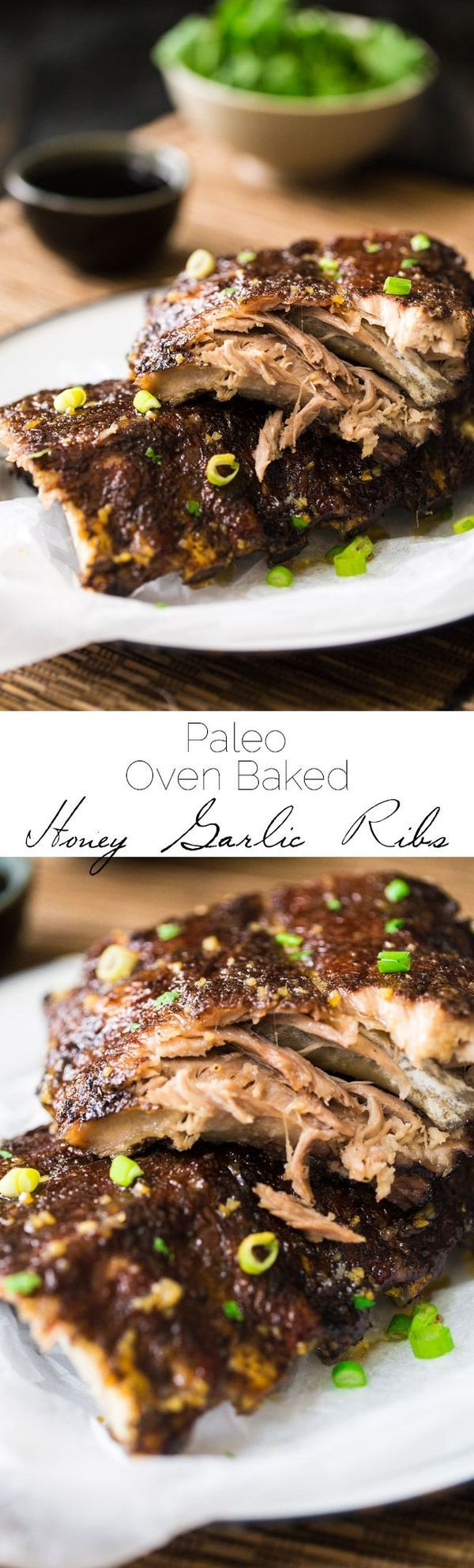 Paleo 5 Spice Honey Garlic Oven Baked Ribs - Sticky, sweet, healthier ribs that are gluten free, Paleo and made in the oven. These fall RIGHT OFF THE BONE!