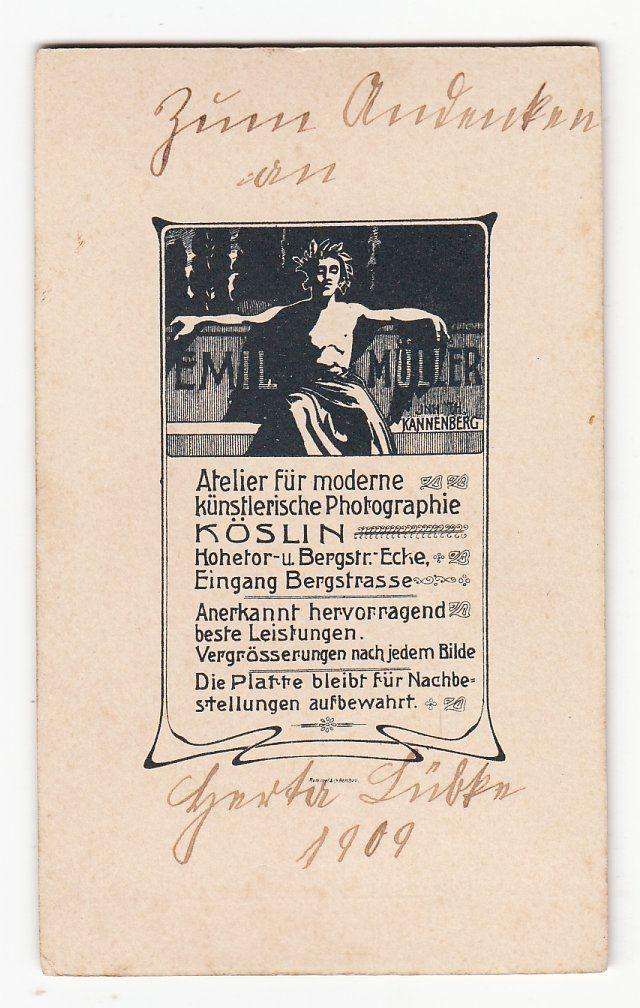 r 090 ★ CDV-Foto dat. 1909 - Herta Lübke als kleines Mädchen, Spielzeug - Köslin